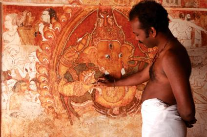 Artist at work- Naveenkumar Meppayur at BalusseryKotta