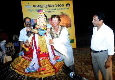 L to R International Kayaker Sandy (third)and E V Haris Seashell Beach Resort (last) at a function organised by DTPC Kannur
