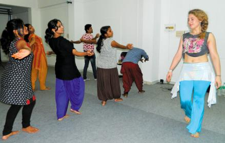 Lola Martin in Kozhikode, during a dance training