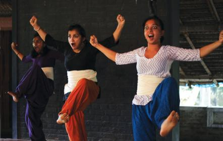 A team of artists from CHOWK, the Singapore based dance /creative production company during the Navarasa  Sadhana workshop at Natanakairali. From left to right:  Sandhya Suresh (dancer), Raka Maitra  (Founder and Artistic Director at CHOWK and Namaha Mazoomdar (Dancer).