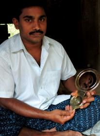 Krishnakumar with bronze mirror