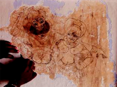 old mural of Kiratha & Parvathi, revealed during conservation process at Balusserykotta