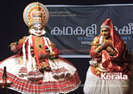Artistes Kottakkal Chandrasekhara Varrier as Keechakan (left) and R L V Radhakrishnan as  Sairandri in the Kathakali play Keechakavadham