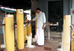 huge candles at Mapranam Church