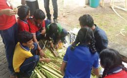 Students Participating in Coconut leaf crafts