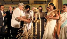 Sitaram Yechury lighting the lamp during the inaugural meeting